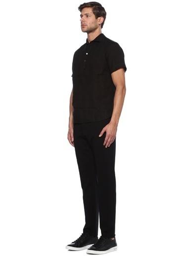 Barena %100 Keten Kısa Kollu Tişört Gömlek Siyah